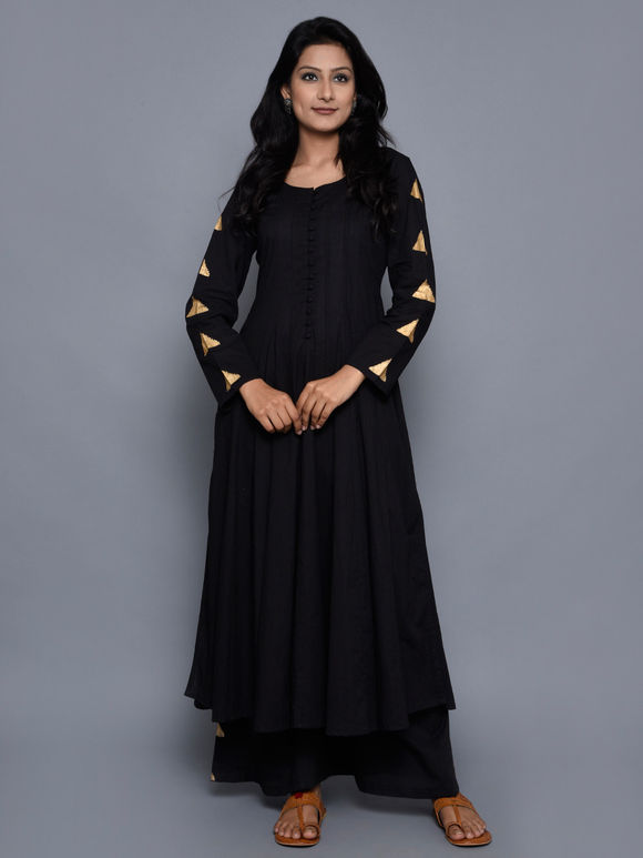 Black Cotton Tikona Anarkali