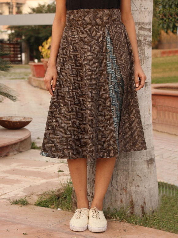 Brown Hand Block Printed Cotton Skirt
