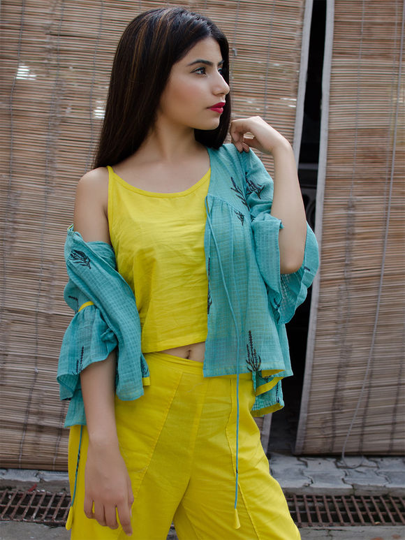 Yellow Cotton Top with Turquoise Hand Block Printed kedia Jacket and Overlap Palazzo - Set of 3