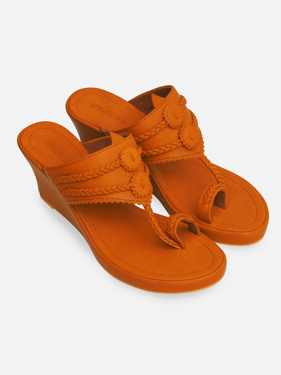Orange Handcrafted Leather Wedges