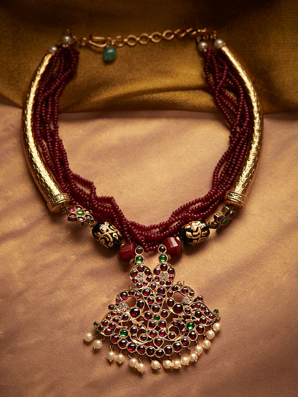 Gold Plated Maroon Handcrafted Silver Necklace