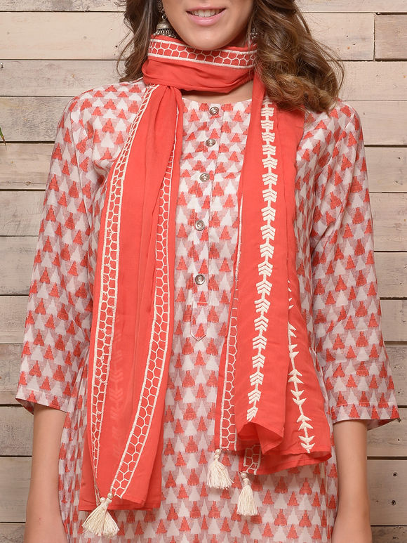 Red White Printed Cotton Kurta with White Pants and Embroidered Scarf - Set of 3