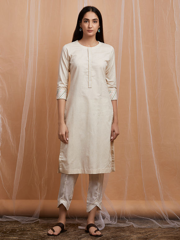 Ivory Cotton Kurta with Overlap Pants and Thread Embroidered Dupatta - Set of 3