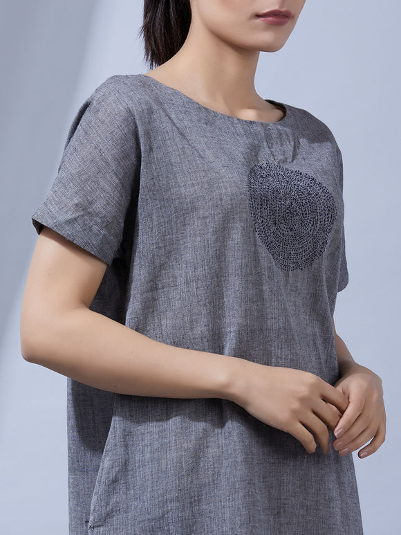 Grey Mangalgiri Cotton Kantha Dress