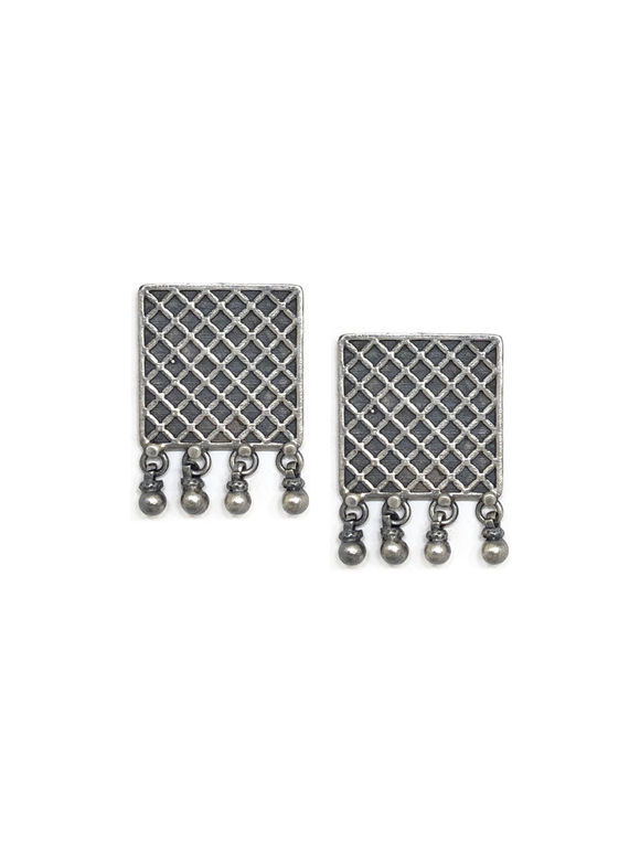 Silver Handcrafted Checkered Stud Earrings