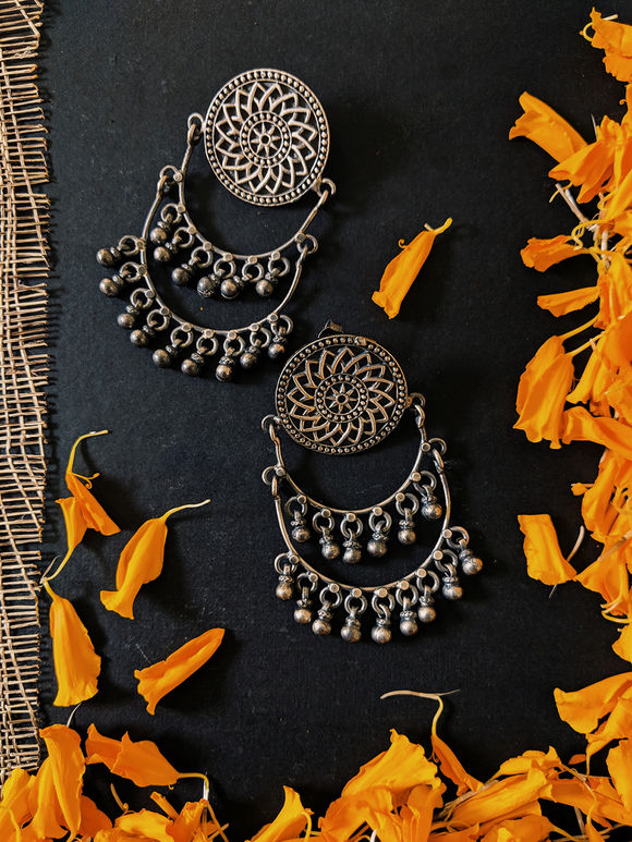 Silver Handcrafted Chaandbali Earrings