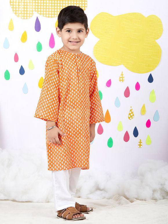 Orange Hand Block Printed Cotton Kurta with White Pyjama - Set of 2