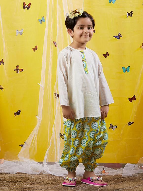 White Cotton Kurta with Lime Green Hand Block Printed Harem Pants - Set of 2