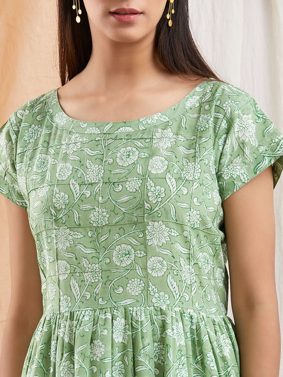 Green Hand Block Printed Cotton Dress