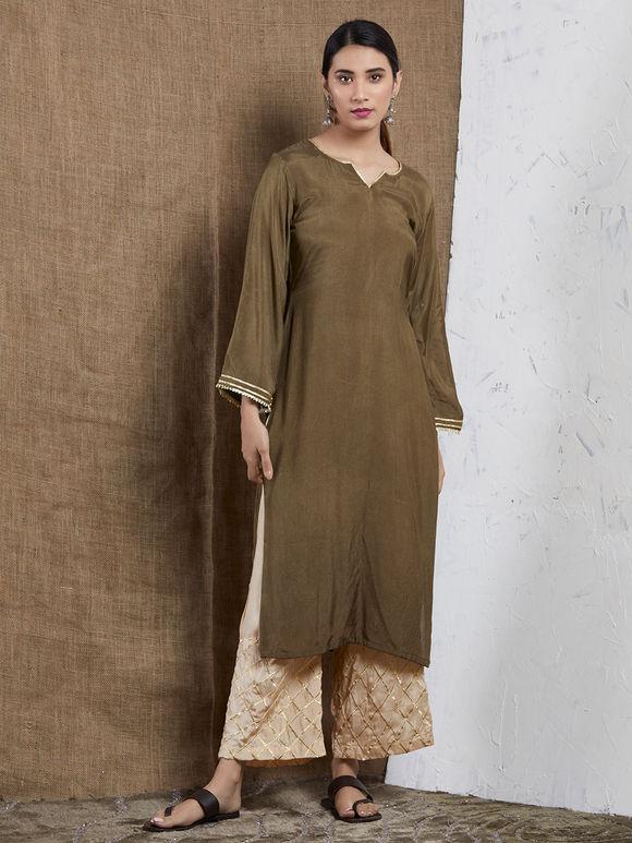 Olive Green Cotton Modal Gota Kurta with Beige Palazzo and Orange Muslin Silk Dupatta - Set of 3