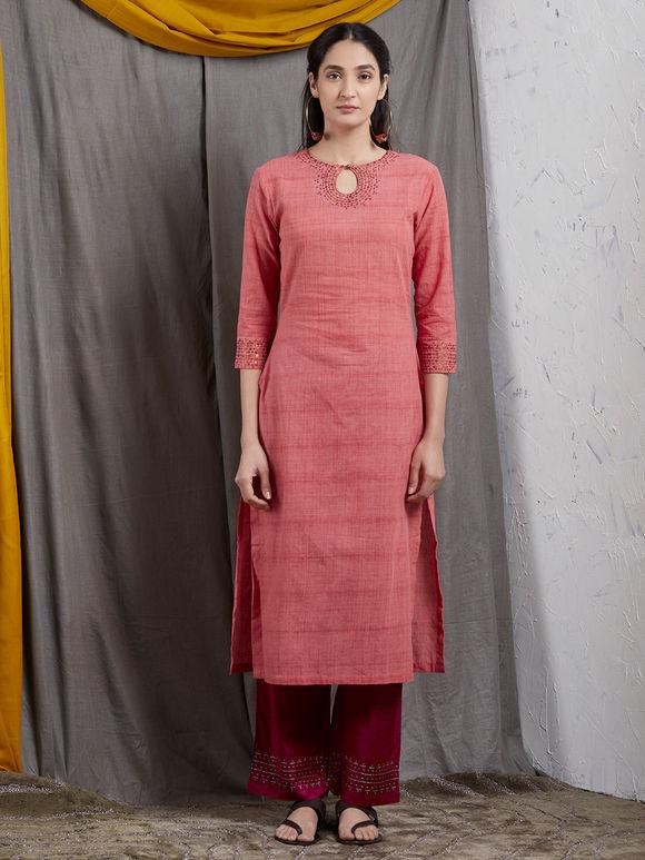 Peach Hand Embroidered Cotton Kurta with Magenta Pants and Chanderi Dupatta- Set of 3