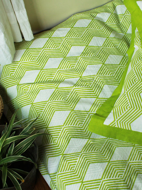 White Green Hand Block Printed Cotton Bed Sheet with Pillow Covers