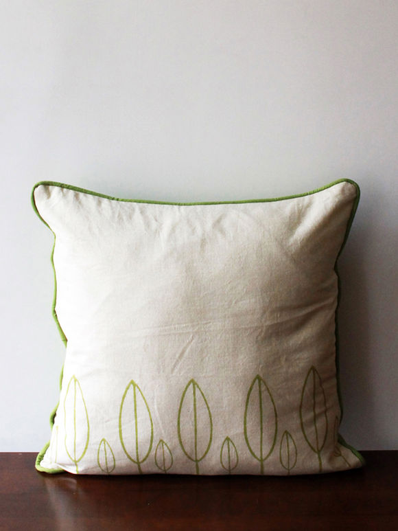 Off White Green Hand Block Printed Cotton Cushion Cover