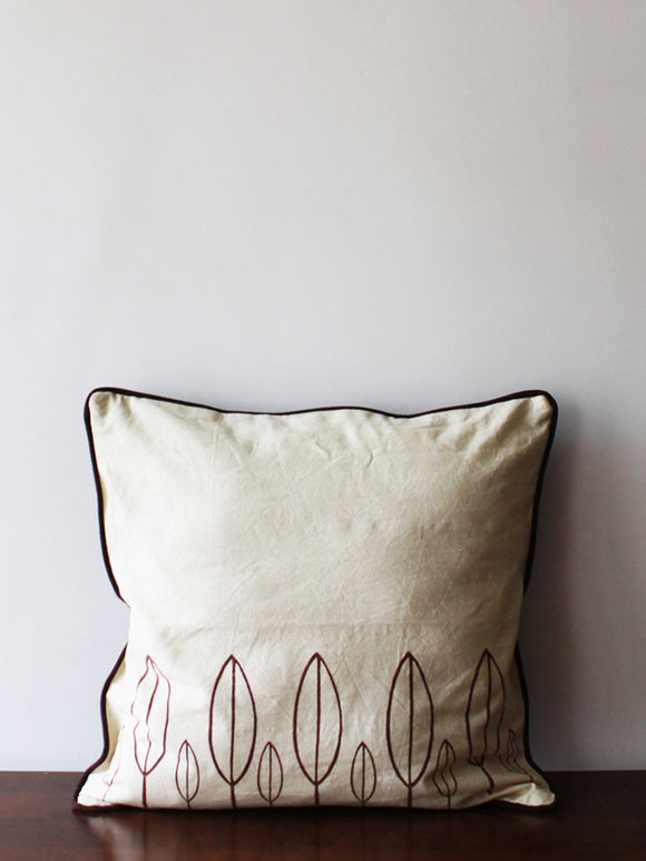 Off White Brown Hand Block Printed Cotton Cushion Cover