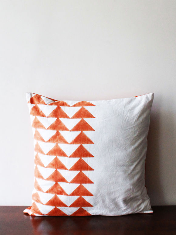 White Orange Triangle Hand Block Printed Cotton Cushion Cover