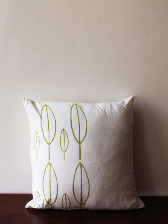 White Green Leaf Hand Block Printed Cotton Cushion Cover