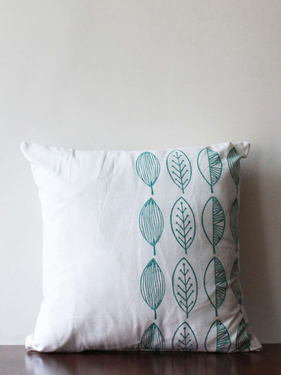White Turquoise Hand Block Printed Cotton Cushion Cover