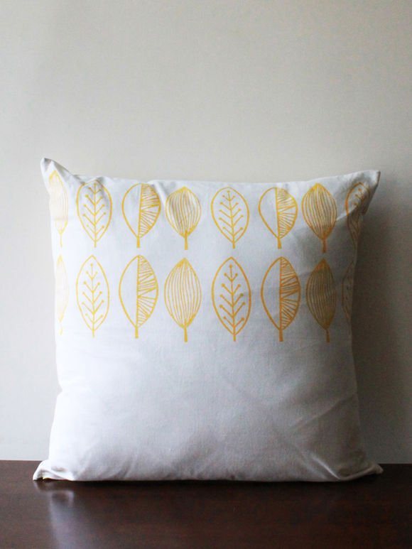 White Yellow Hand Block Printed Cotton Cushion Cover