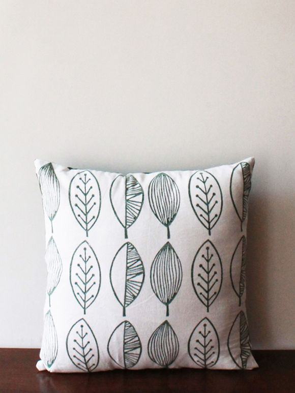 White Turquoise Hand Block Printed Leafs Cotton Cushion Cover