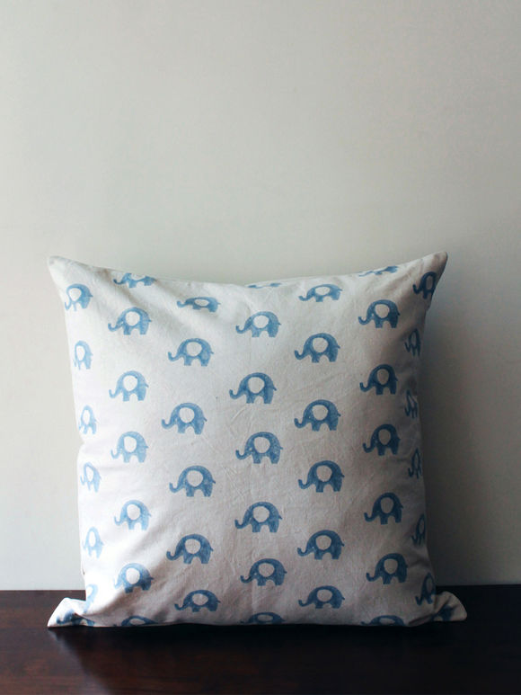 White Blue Hand Block Printed Cotton Cushion Cover
