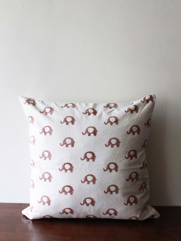 White Brown Hand Block Printed Cotton Cushion Cover