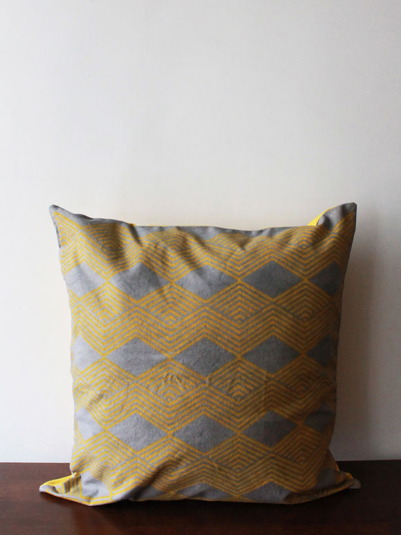 Yellow Grey Hand Block Printed Cotton Cushion Cover