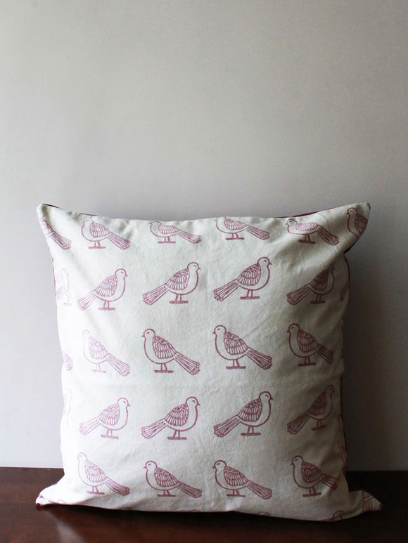 White Pink Hand Block Printed Cotton Cushion Cover