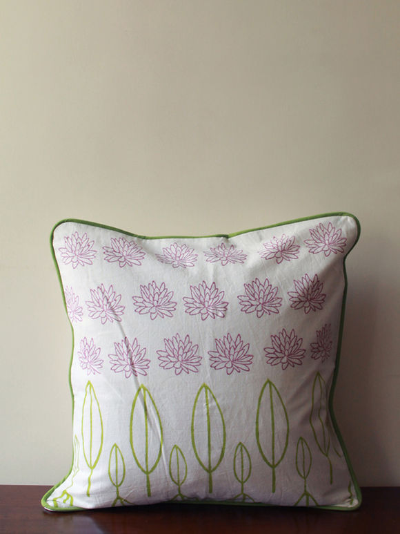 White Pink Lotus and Leafs Hand Block Printed Cotton Cushion Cover