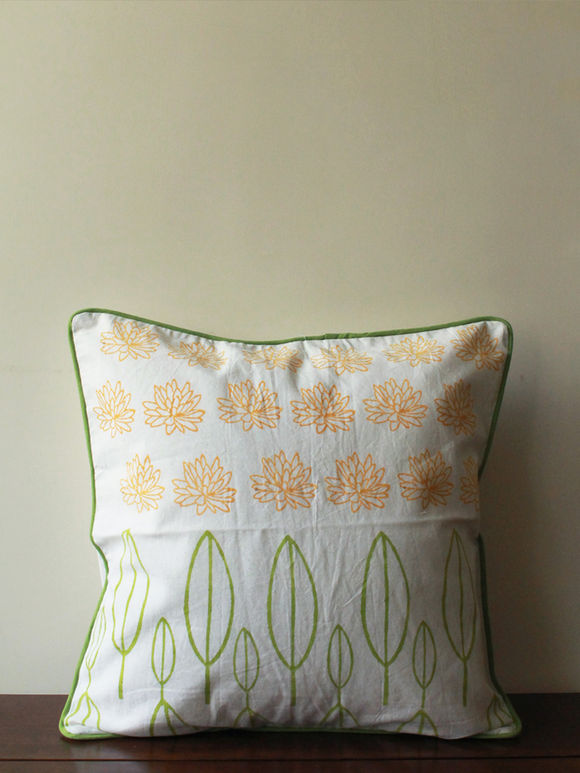 White Yellow Lotus and Leafs Hand Block Printed Cotton Cushion Cover