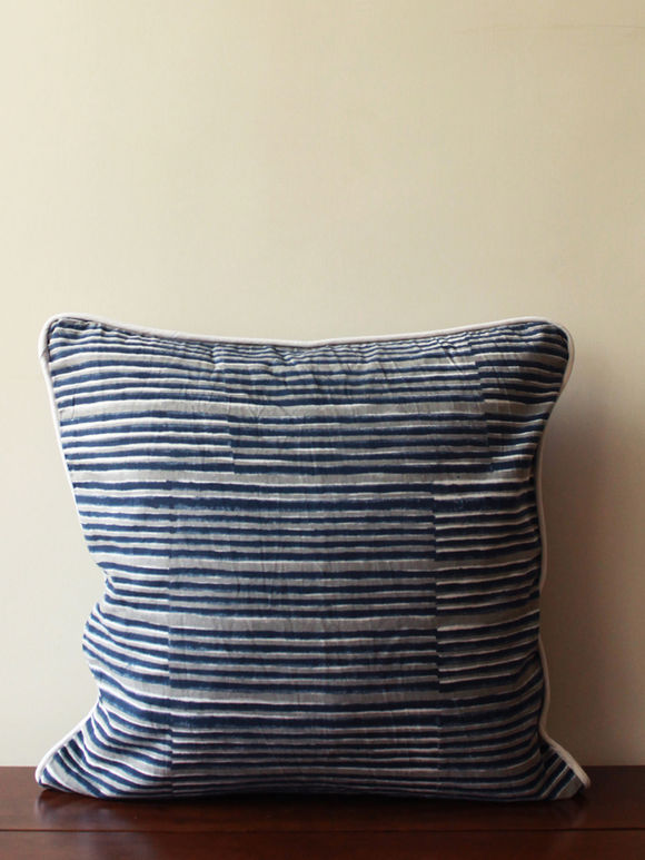 Indigo Striped Cotton Cushion Cover