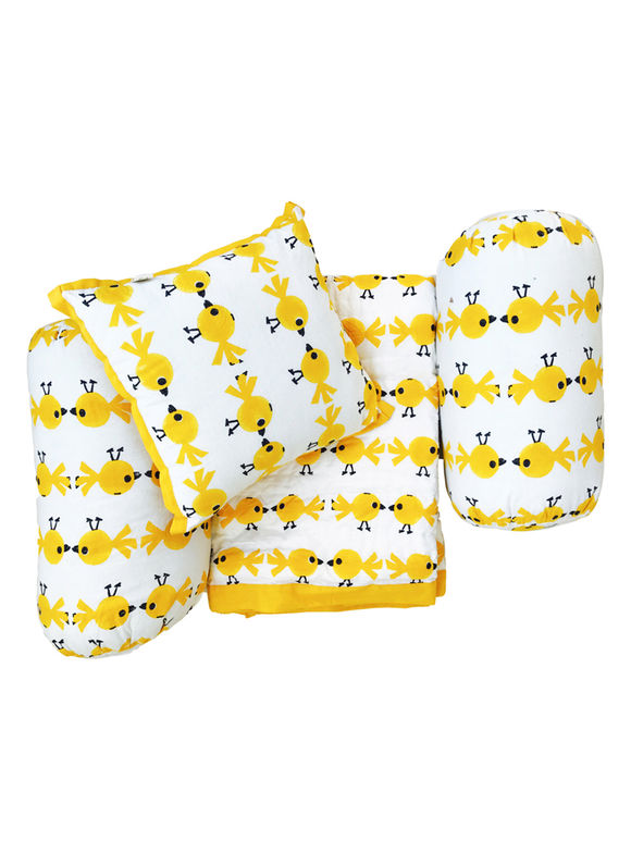 White Yellow Hand Block Printed Cotton Bedding Set for Kids - Set of 4