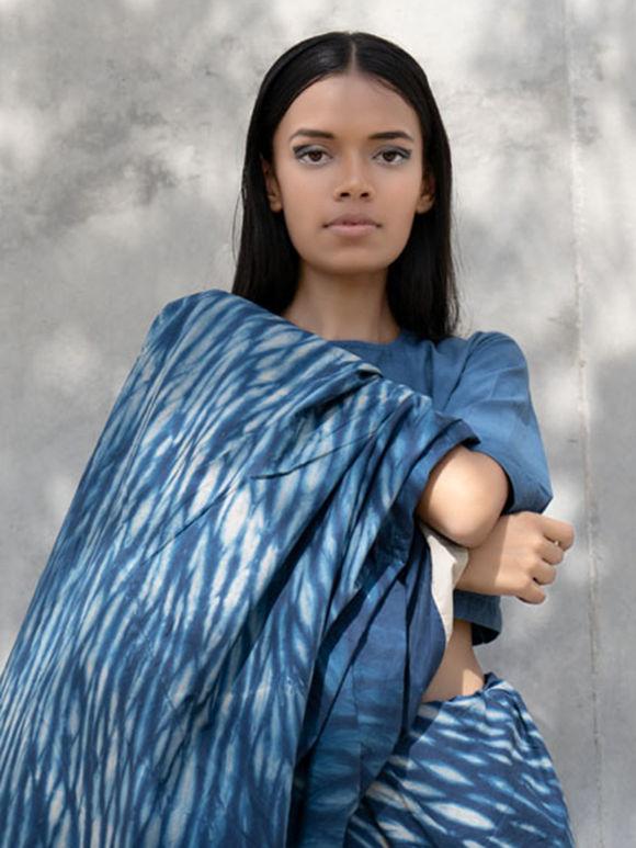 Blue Shibori Dyed Cambric Saree