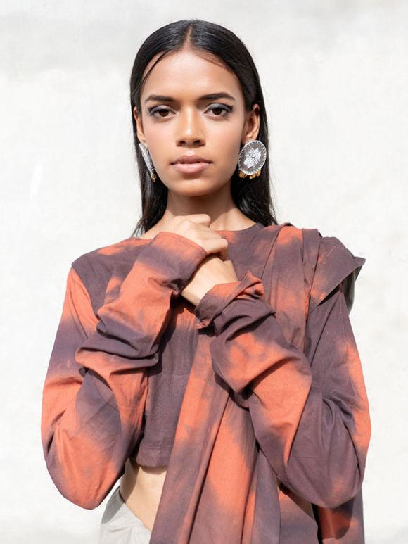 Rust Grey Shibori Dyed Cambric Saree