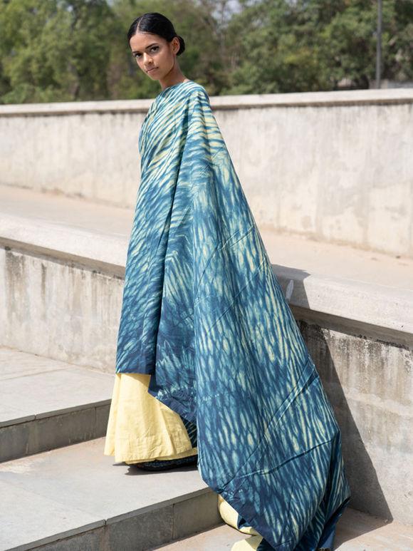 Yellow Blue Shibori Dyed Cambric Saree