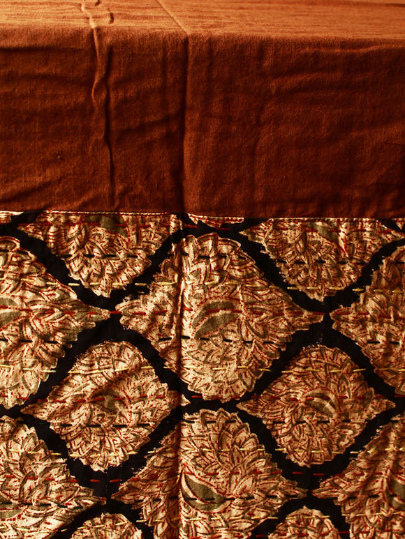 Brown Hand Embroidered Cotton Table Cover