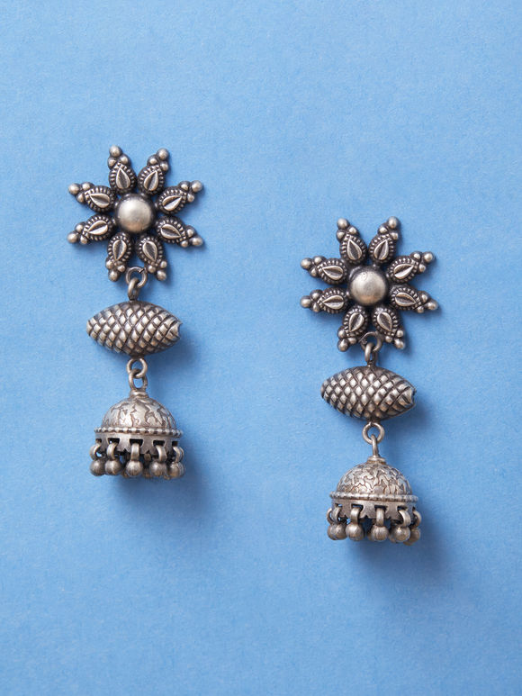 Silver Handcrafted Flower Jhumkies