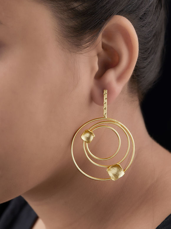 Gold Toned Handcrafted Brass Round Chic Earrings