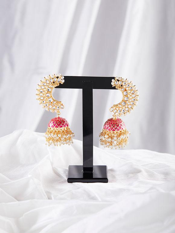 Pink Meenakari Brass Pearls Jhumkies