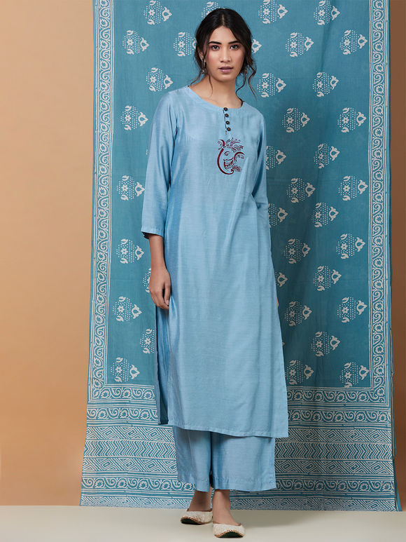 Sky Blue Embroidered Cotton Silk Kurta with Palazzo and Mulmul Dupatta- Set of 3