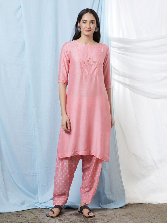 Pink Hand Embroidered Cotton Silk Kurta with Bandhani Salwar - Set of 2