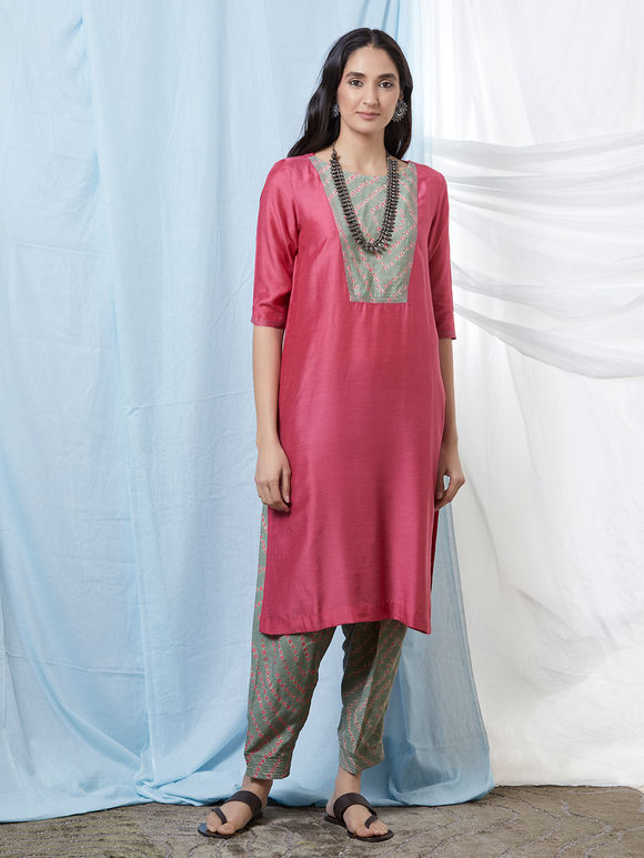 Pink Olive Green Bandhani Cotton Silk Kurta with Salwar - Set of 2