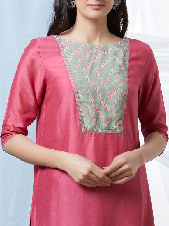 Pink Olive Green Bandhani Cotton Silk Kurta with Salwar - Set of 2