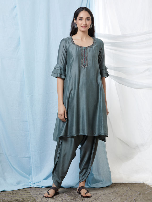 Grey Hand Embroidered Cotton Silk Kurta with Dhoti Pants - Set of 2