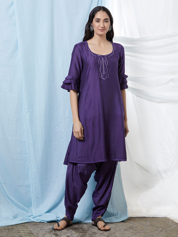 Purple Hand Embroidered Cotton Silk Kurta