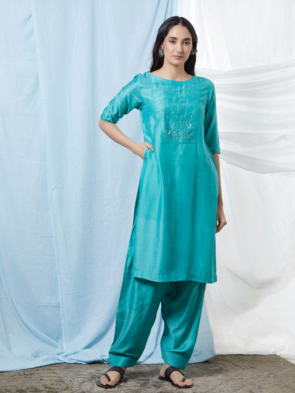 Aqua Blue Hand Embroidered Cotton Silk Kurta