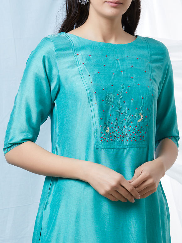 Aqua Blue Hand Embroidered Cotton Silk Kurta with Salwar - Set of 2