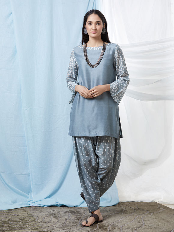 Grey Bandhani Cotton Silk Kurta with Salwar - Set of 2