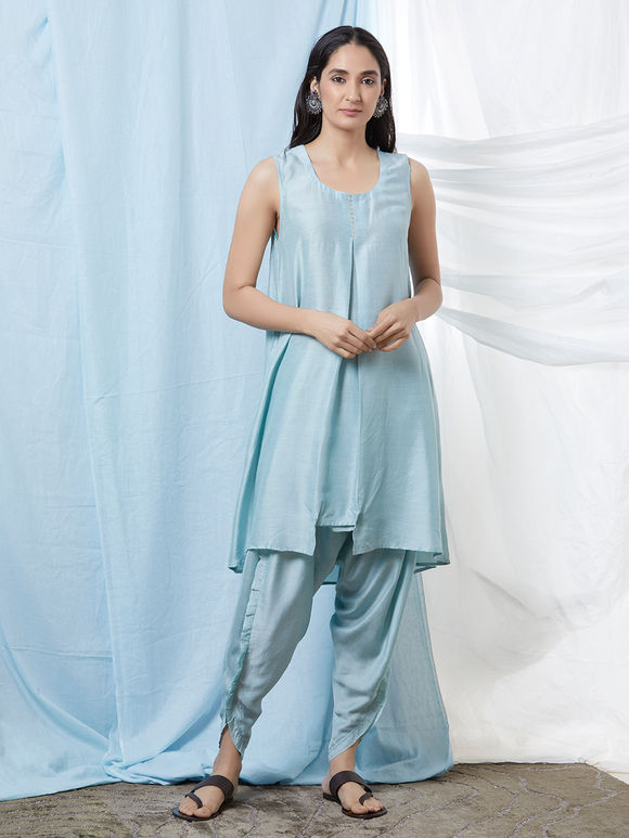 Light Blue Cotton Silk Flared Kurta with Dhoti Pants - Set of 2