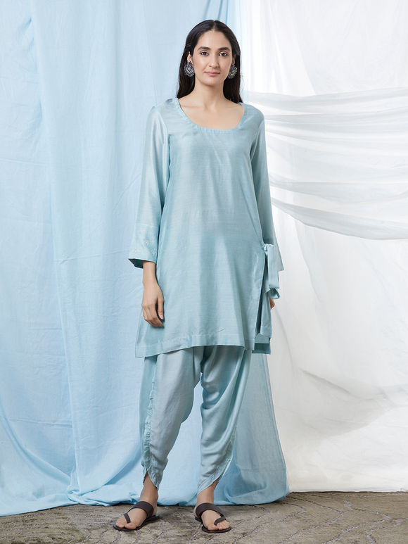 Light Blue Cotton Silk Kurta with Dhoti Pants - Set of 2