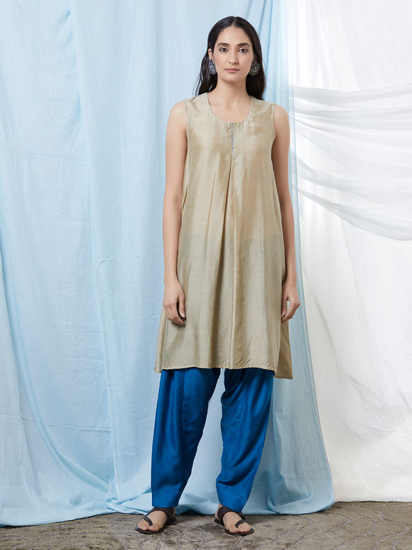 Beige Cotton Silk Flared Kurta with Blue Salwar - Set of 2